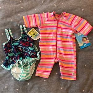 Other - [bundle of 2] NWT 12M baby girl swimsuits